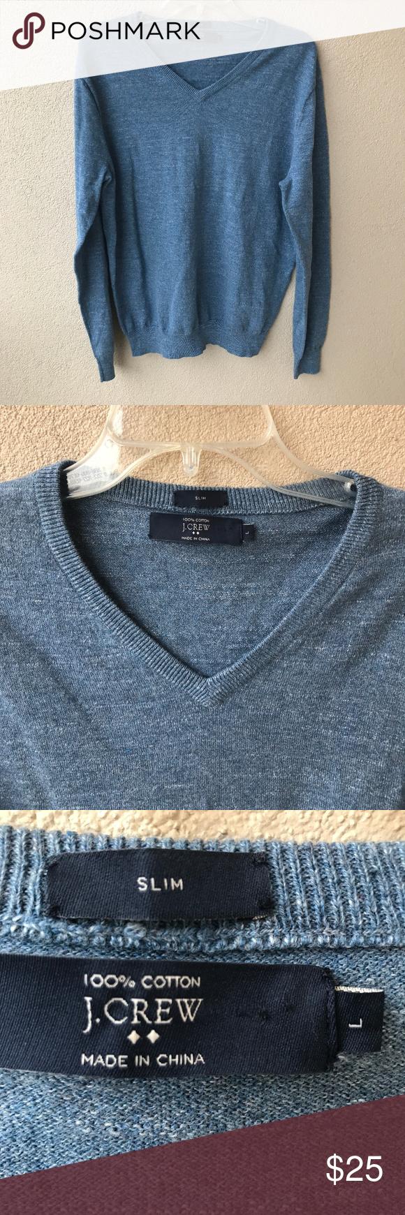 832a03638e8 J. Crew Factory Slim Textured V-Neck Sweater Blue textured cotton slim fit v