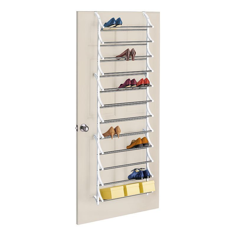 Lynk 36-Pair Over-the-Door Shoe Rack, White