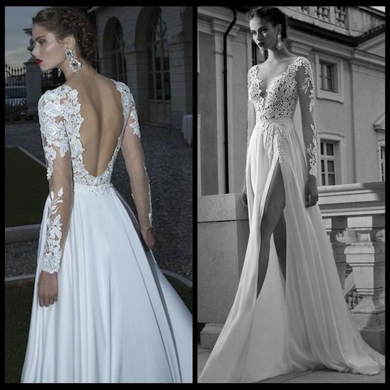 2014 berta lace v neck tulle backless long sleeves chiffon for Lace sleeve backless wedding dress