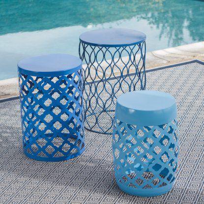 Coral Coast Ellery Round Metal Patio Side Tables   Set Of 3