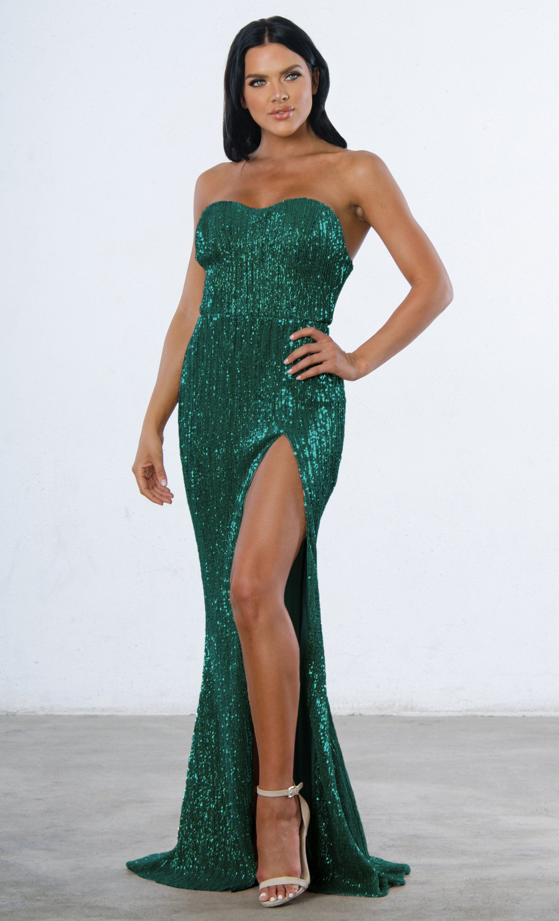 c21bc08b7c0f Indie XO Show Me Some Love Sequin Strapless Sweetheart Neck High Slit