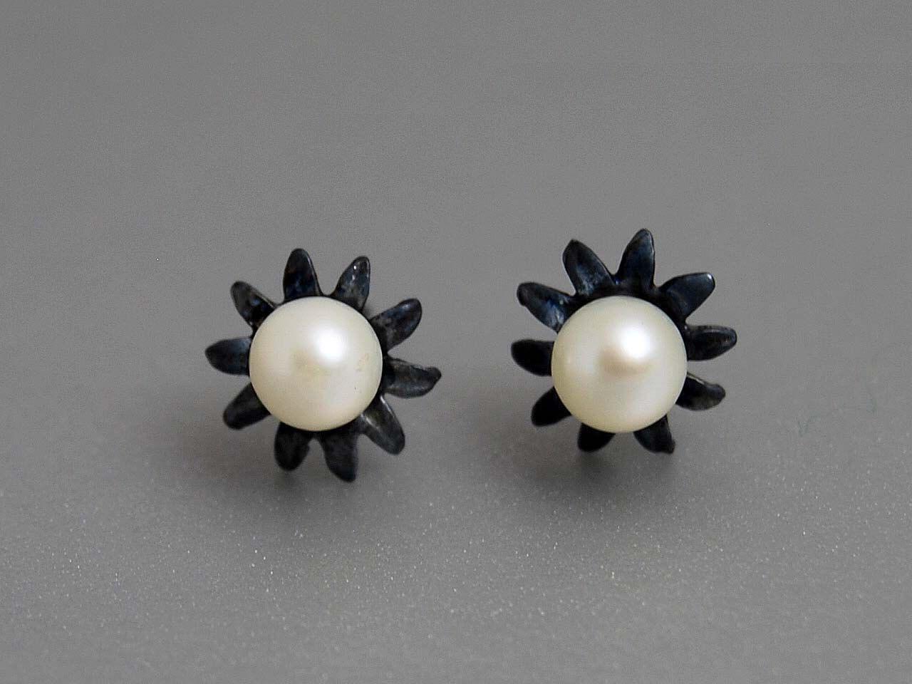 June Birthstone Pearl Flower Studs Earrings by thisandthatgallery, $39.00