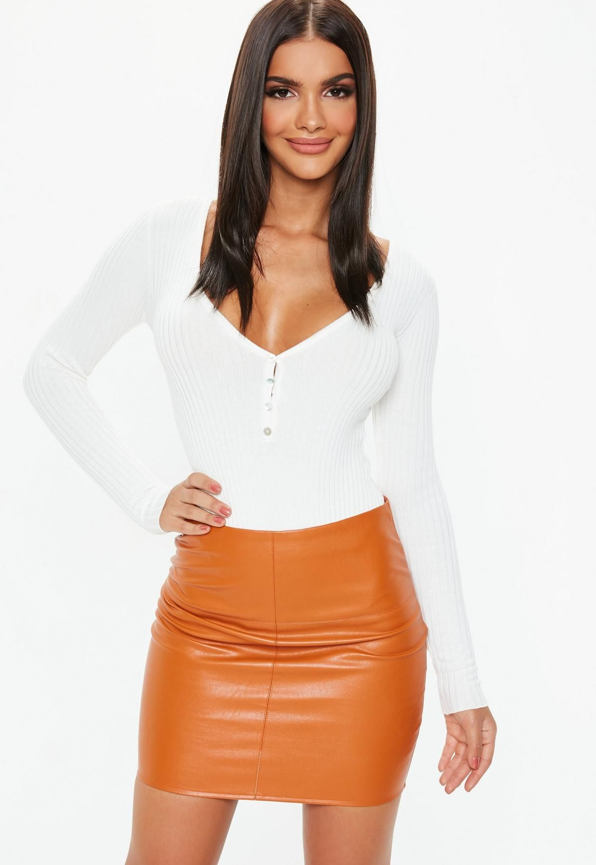 f3148b0f35 Women's High Waist Zip Faux Leather Skirt in 2019 | ZORKET trends ...