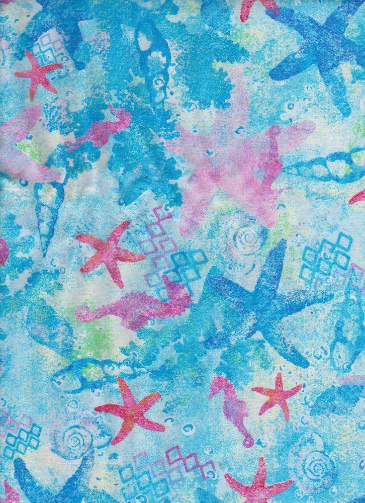 Blue Pink Starfish Seashose Seashell Ocean Nautical Water Fabric Curtain  Valance #Handmade #Country