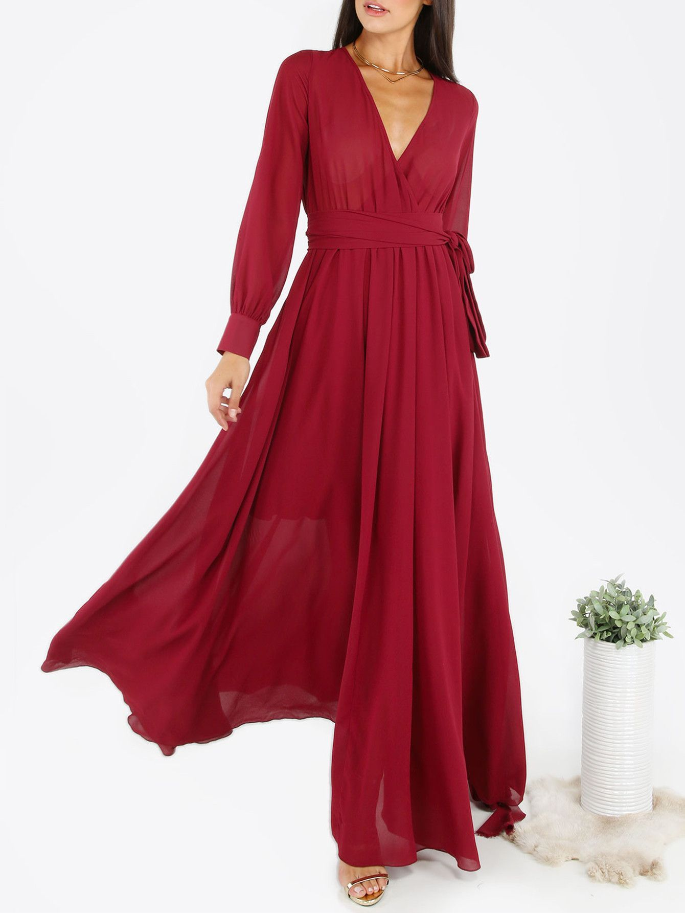 Burgundy surplice wrap selftie cuff sleeve maxi dress products