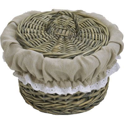 Evideco Willow Basket with Cover Washed