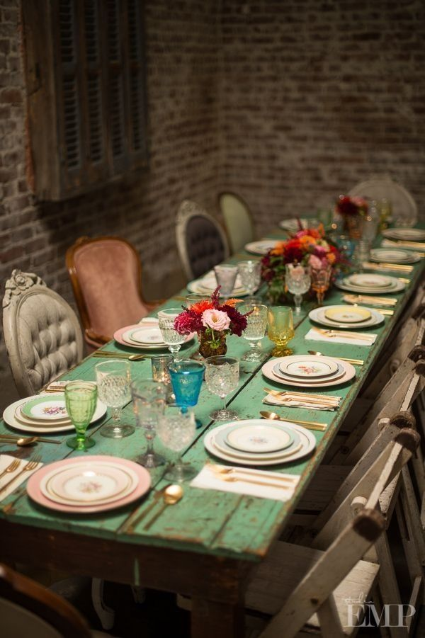 Mismatched Chairs Dining Room Old Brick Wallpaper To Add A Funky