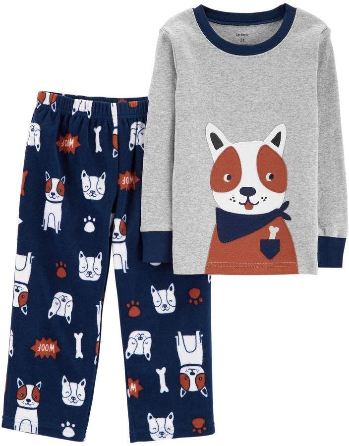 13d3ab1d0 Carter s Toddler Boy Top   Fleece Bottoms Pajamas Set