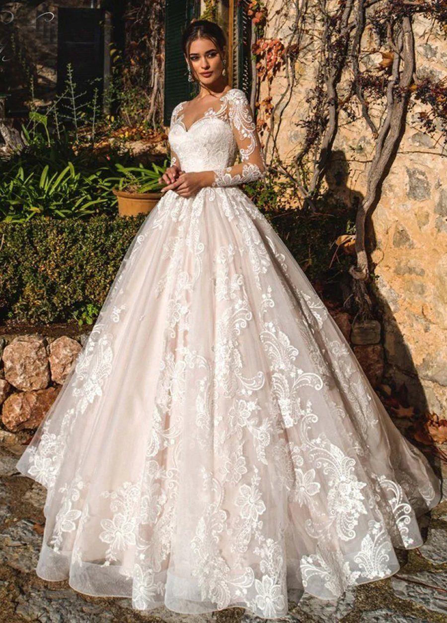 Sexy Illusion Long Sleeve Vintage Wedding Dresses