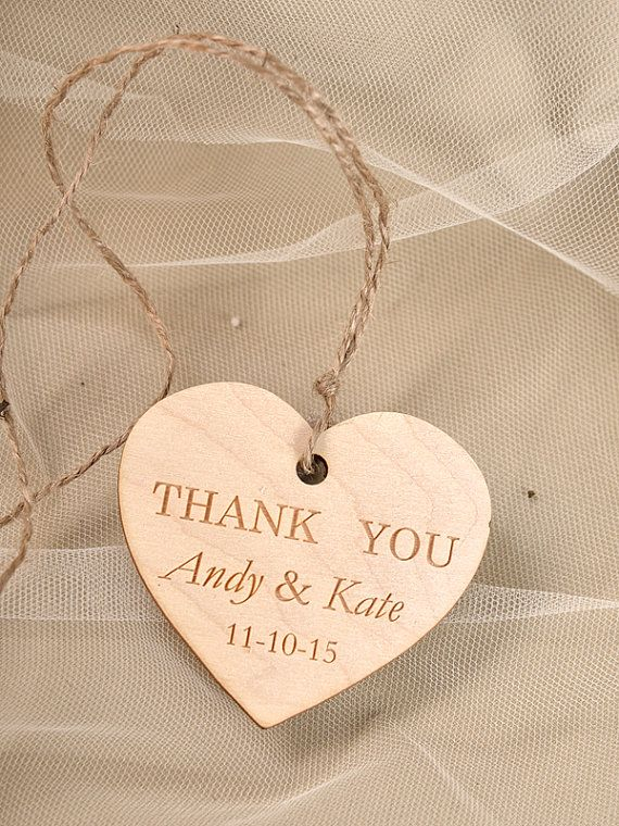 Custom Wooden Heart Thank You Tag Engraved Wedding Wood Favors Tags