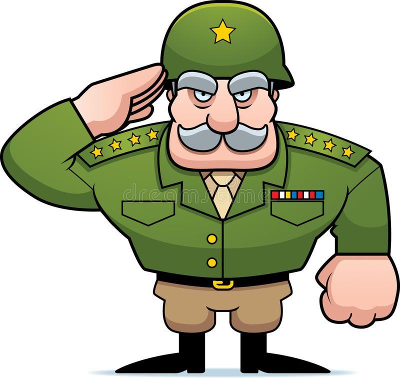 Cartoon Military General Salute An Illustration Of A Cartoon