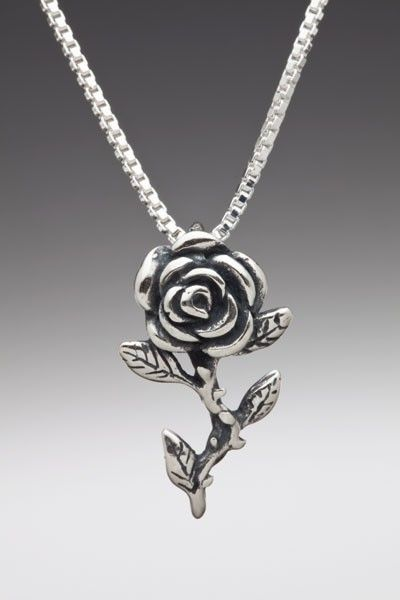 a70d448535714 Rose Necklace Rose Charm Rose Pendant Sterling Rose Silver Rose ...