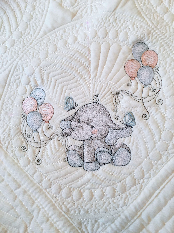 GORGEOUS ELEPHANT BEAUTIFUL  BOY GIRL PERSONALISED EMBROIDERED BABY BLANKET GIFT
