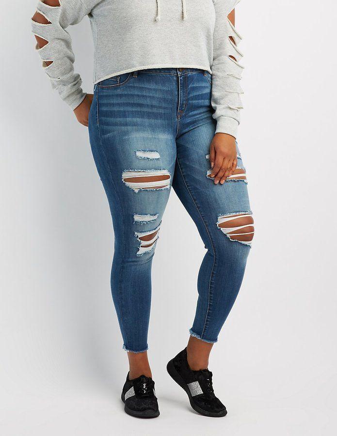 e40f03efe Charlotte Russe Plus Size Refuge Skin Tight Legging Destroyed Jeans