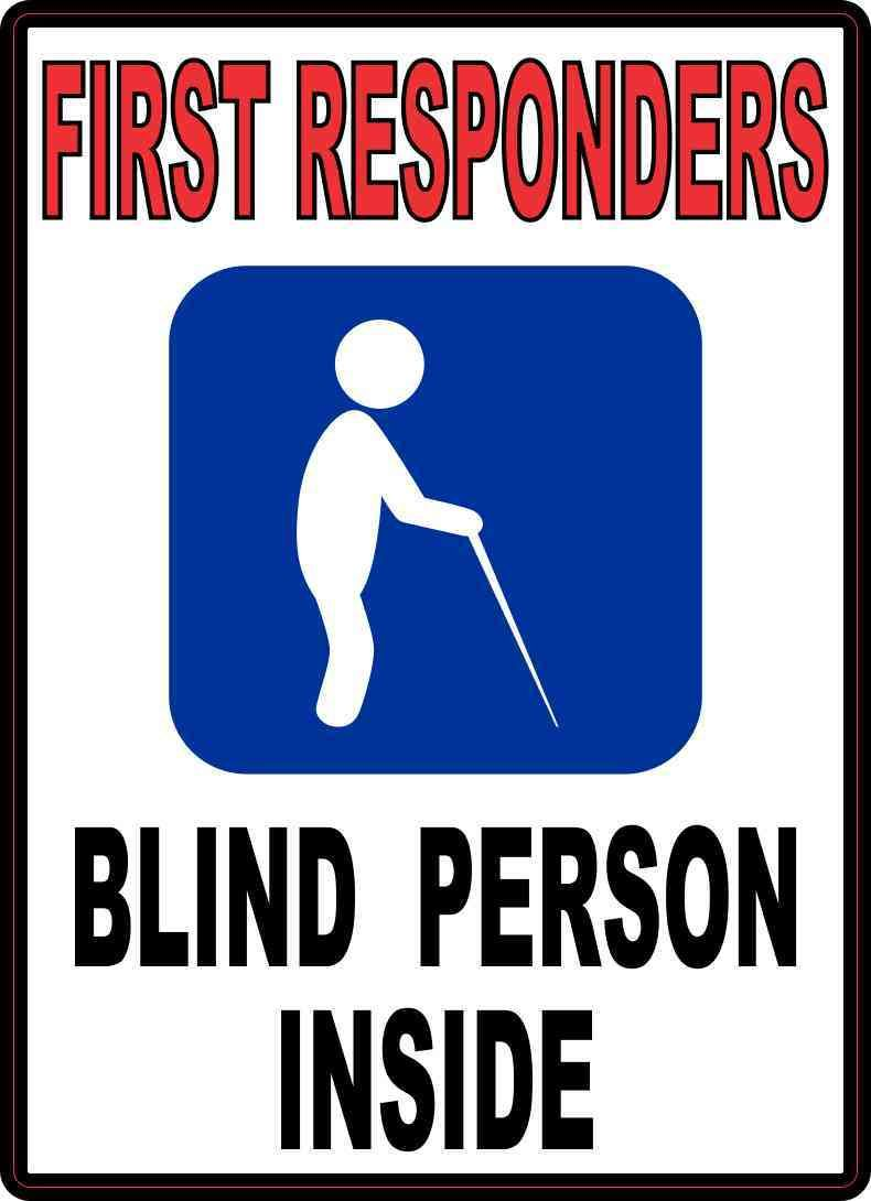 5in X 7in Blind Person Inside Sticker Signs And Symbols