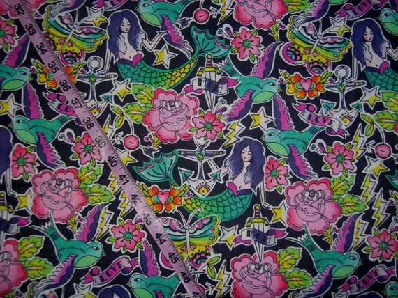 Mermaid Fabric with mermaids tattoo cotton print quilt quilters ... : tattoo quilt fabric - Adamdwight.com