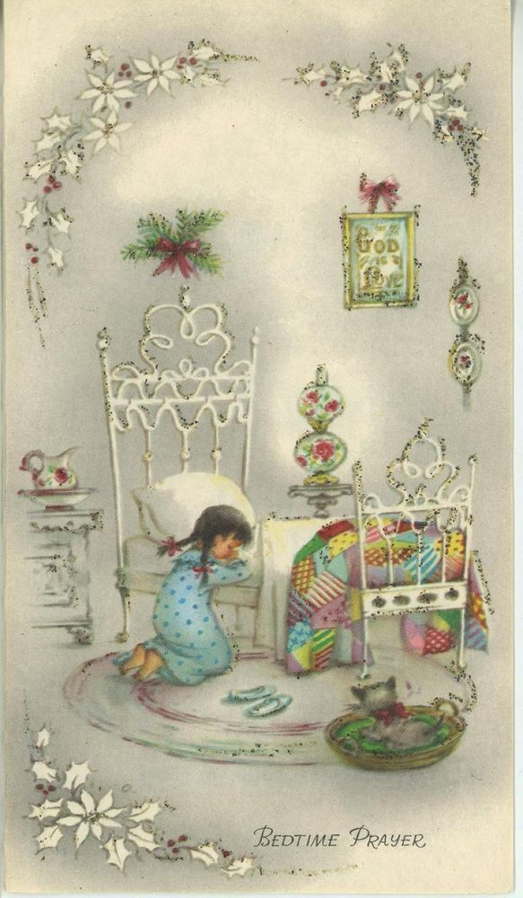 Vintage christmas girl praying white bed quilt cat kitten god card vintage christmas girl praying white bed quilt cat kitten god card art print m4hsunfo