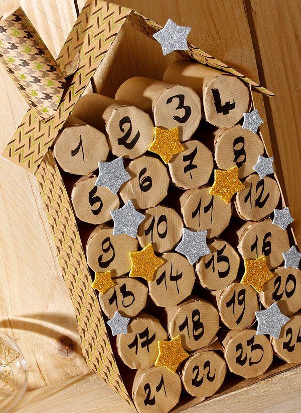 Calendrier de l'Avent à surprises à faire avec des rouleaux en carton #Wesco #calendrierdelaventfaitmaisonenfant