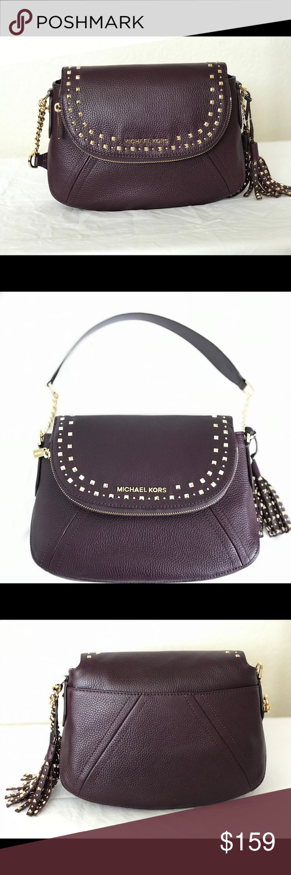 eb562f7d6a9d Michael Kors Aria Stud MD Convertible Shoulder Bag Top flap snap closure  Interior: Lined with