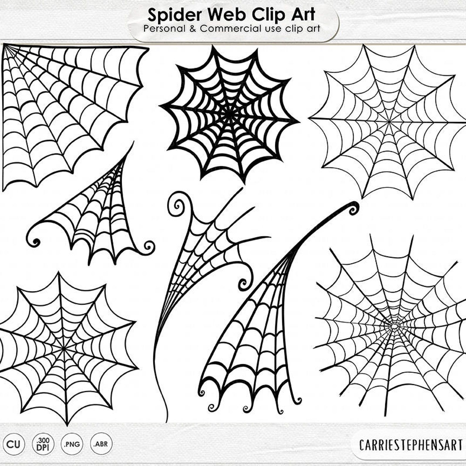 Spider Web Clip Art Spooky Halloween Clip Art Digital Stamps Etsy Spider Web Drawing Spider Web Tattoo Halloween Clips