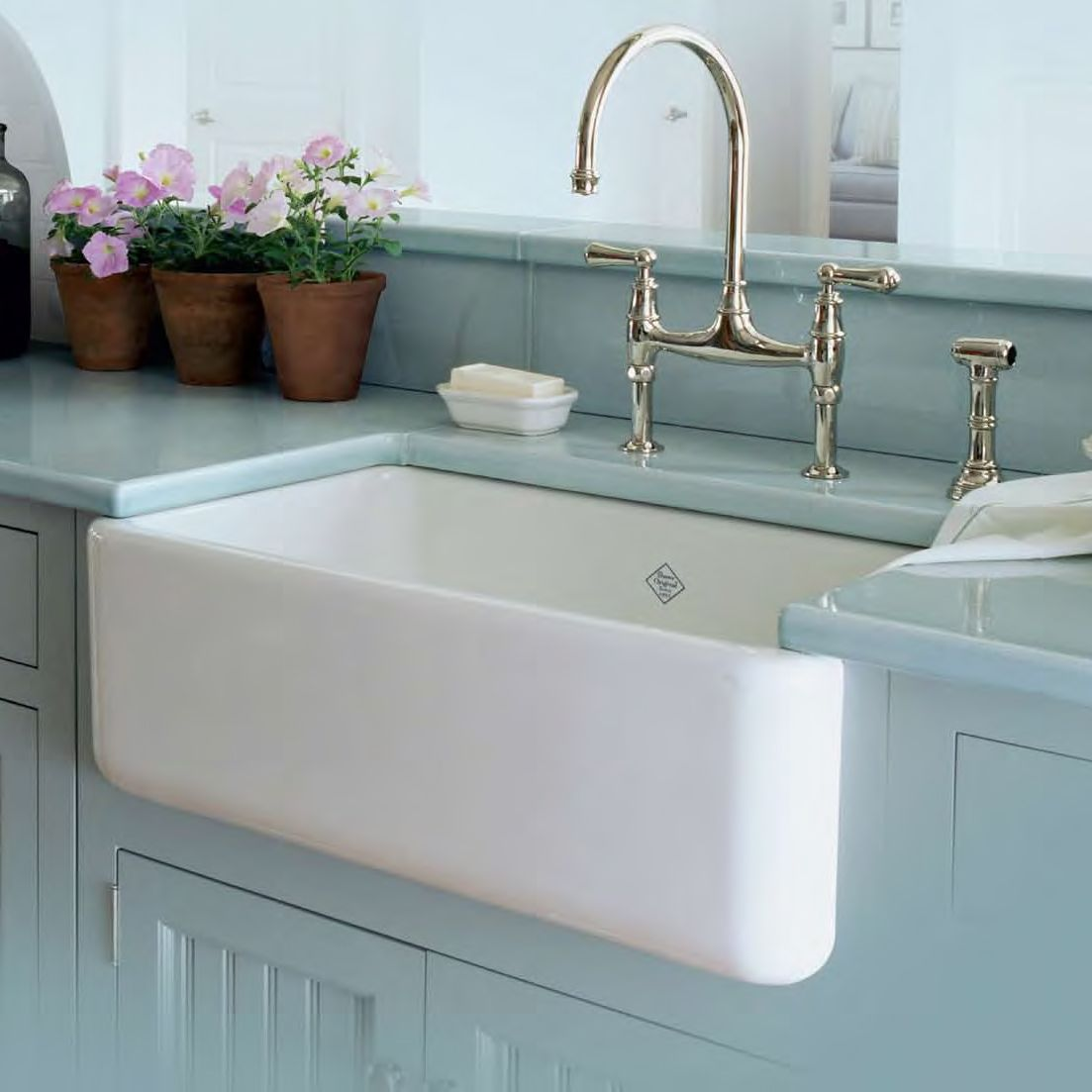 Rohl Shaw White Apron Front Sink 18 x 30 Single Bowl w/ Bridge ...