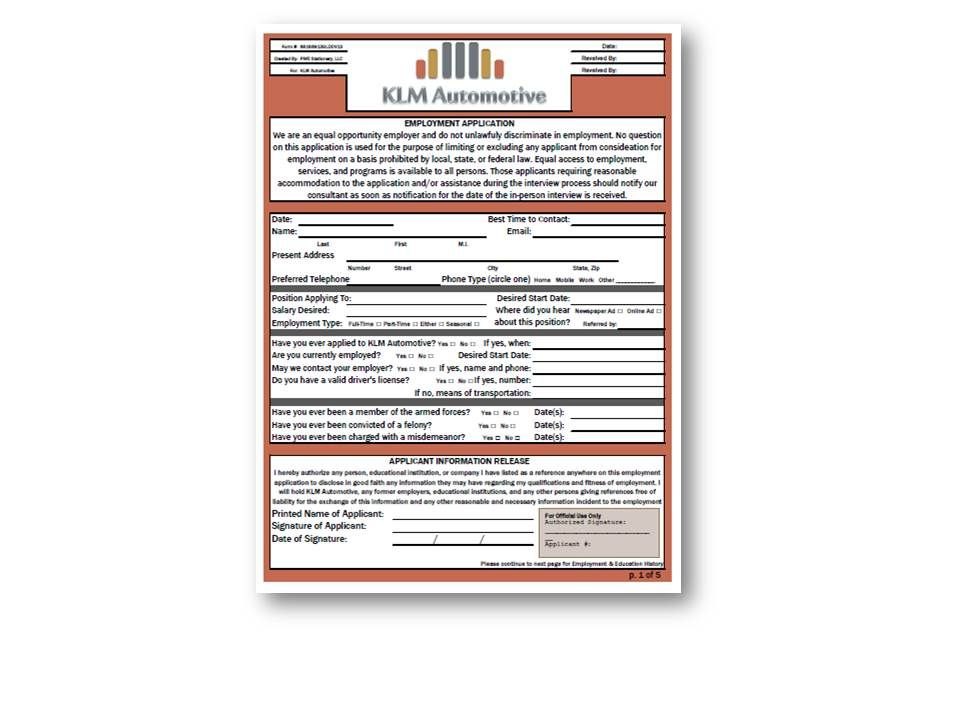 Employment Application Sample wwwpwestationary PWE Products - employment application