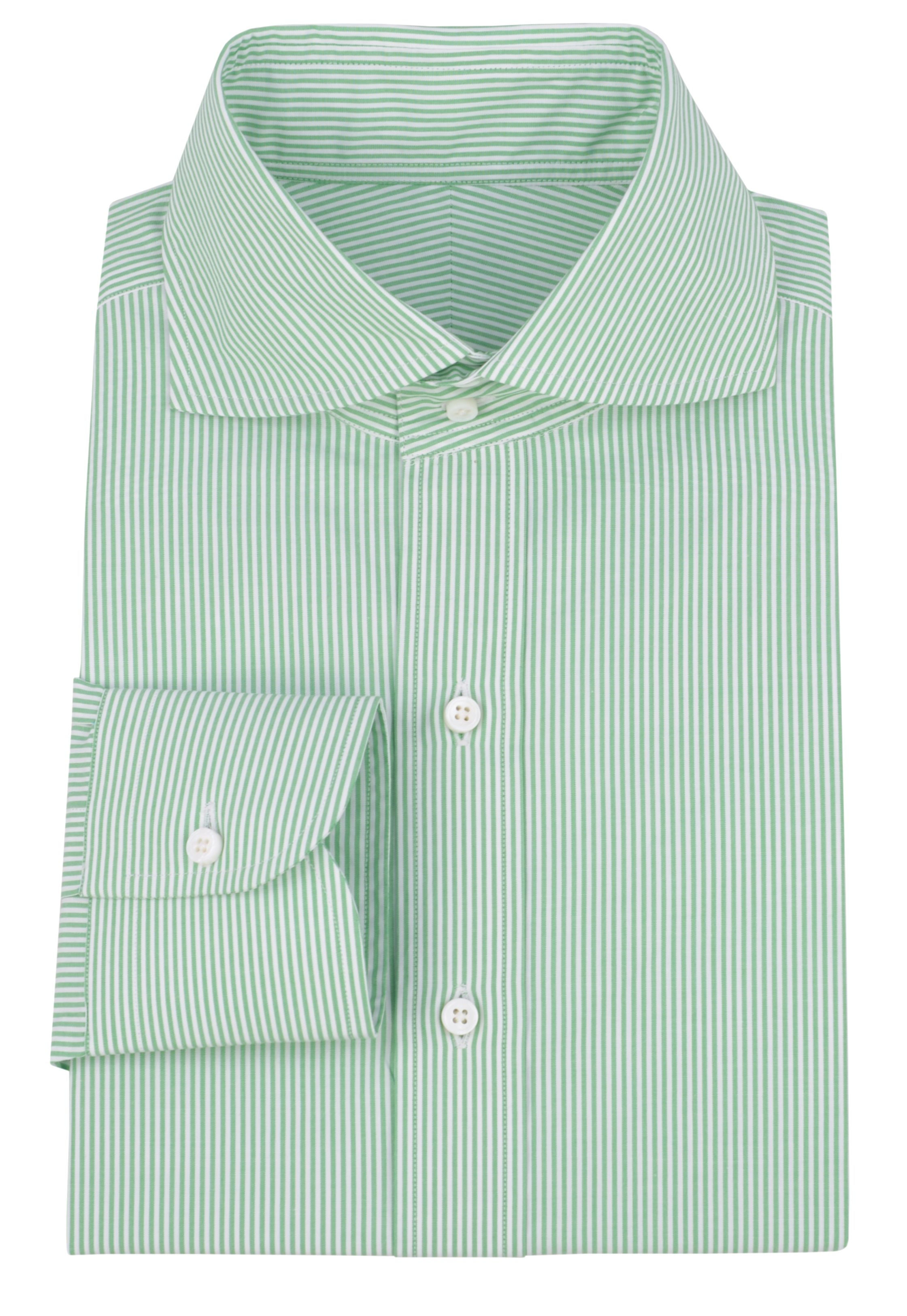12552059c0a Luxire White Green Dress Stripes shirt with NOBD I ( curved   spread)  collar.
