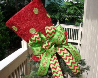 Amazing Red And Lime Top Hat Tree Topper, XL Lighted Tree Topper Bow, Top Hat  Christmas Decoration, Chevron