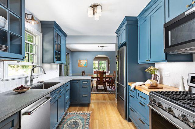 5 countertops that look beautiful in a dark blue kitchen houzz dark blue kitchens kitchen on kitchen decor blue id=34282