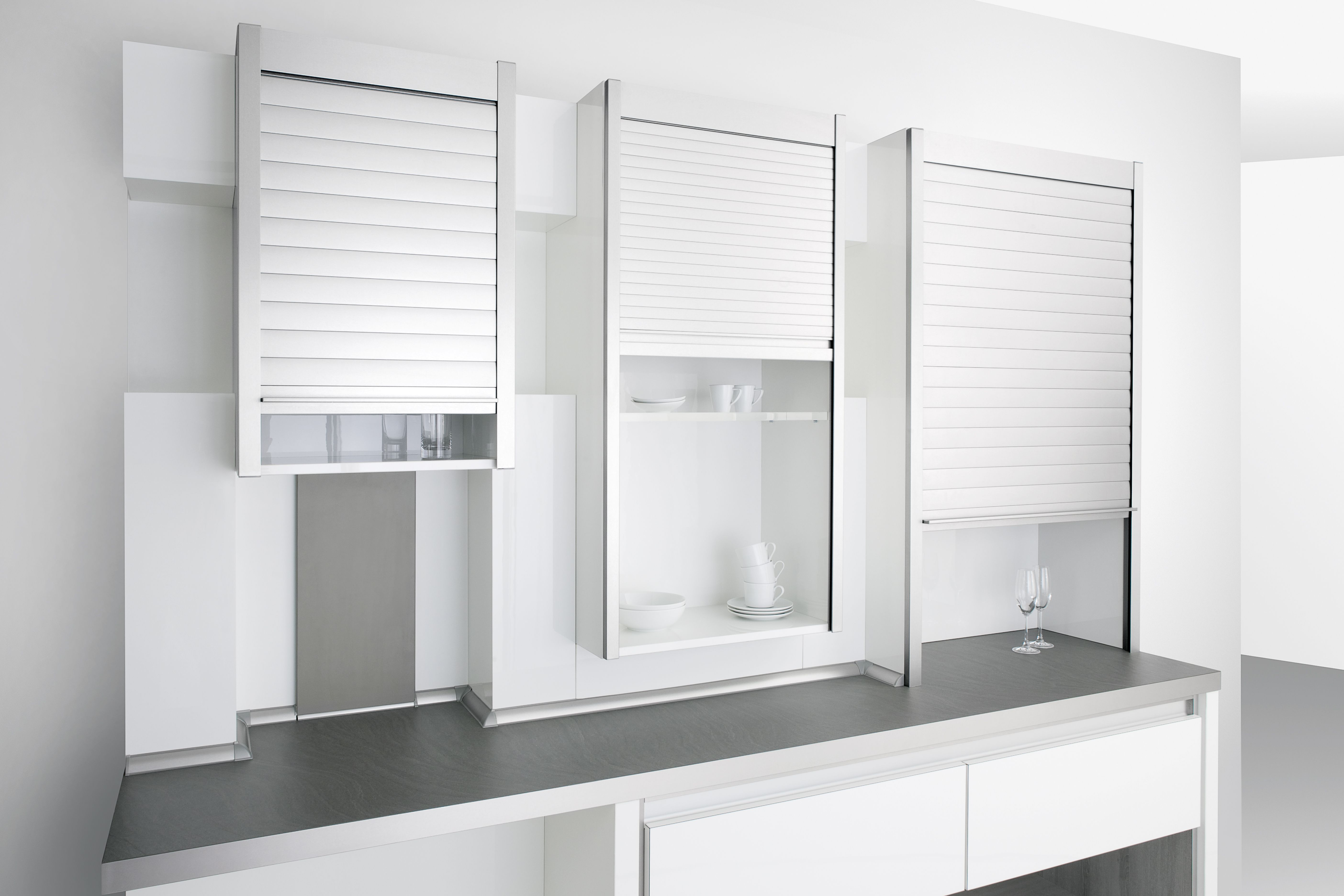 Modern Made Easy Keep Pace With The Most Contemporary Trends In The Market By Getting Rehau Tambour Doo Top Kitchen Cabinets Kitchen Cupboards Rolling Shutter