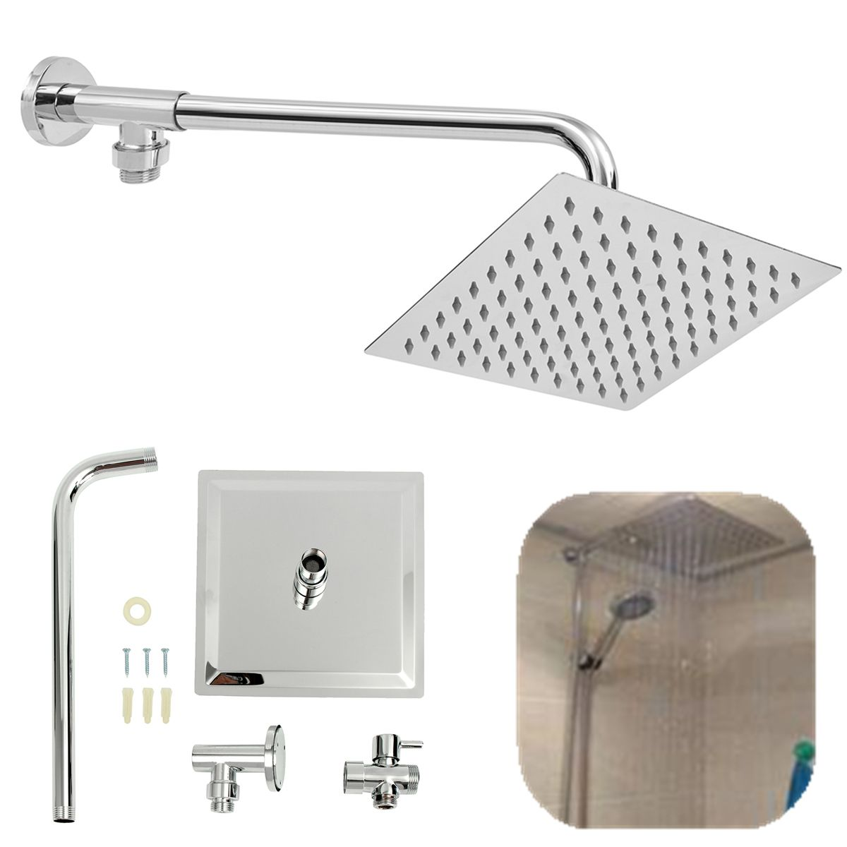 8inch 304 Stainless Steel Square Shower Head Extension Arm Bottom