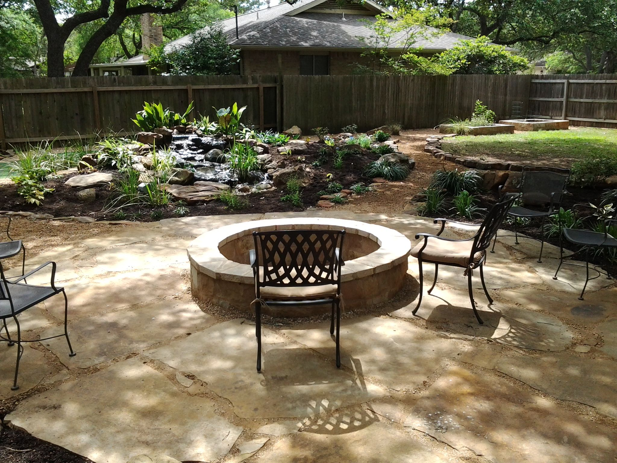 Backyard Landscaping Ideas With Fire Pit diy fire pit ideas our camping adventure begins Oklahoma Flagstone Patio Set In Decomposed Granite With Fire Pit And Water Feature Set In A Rustic Backyardbackyard Patiobackyard Landscapinglandscaping