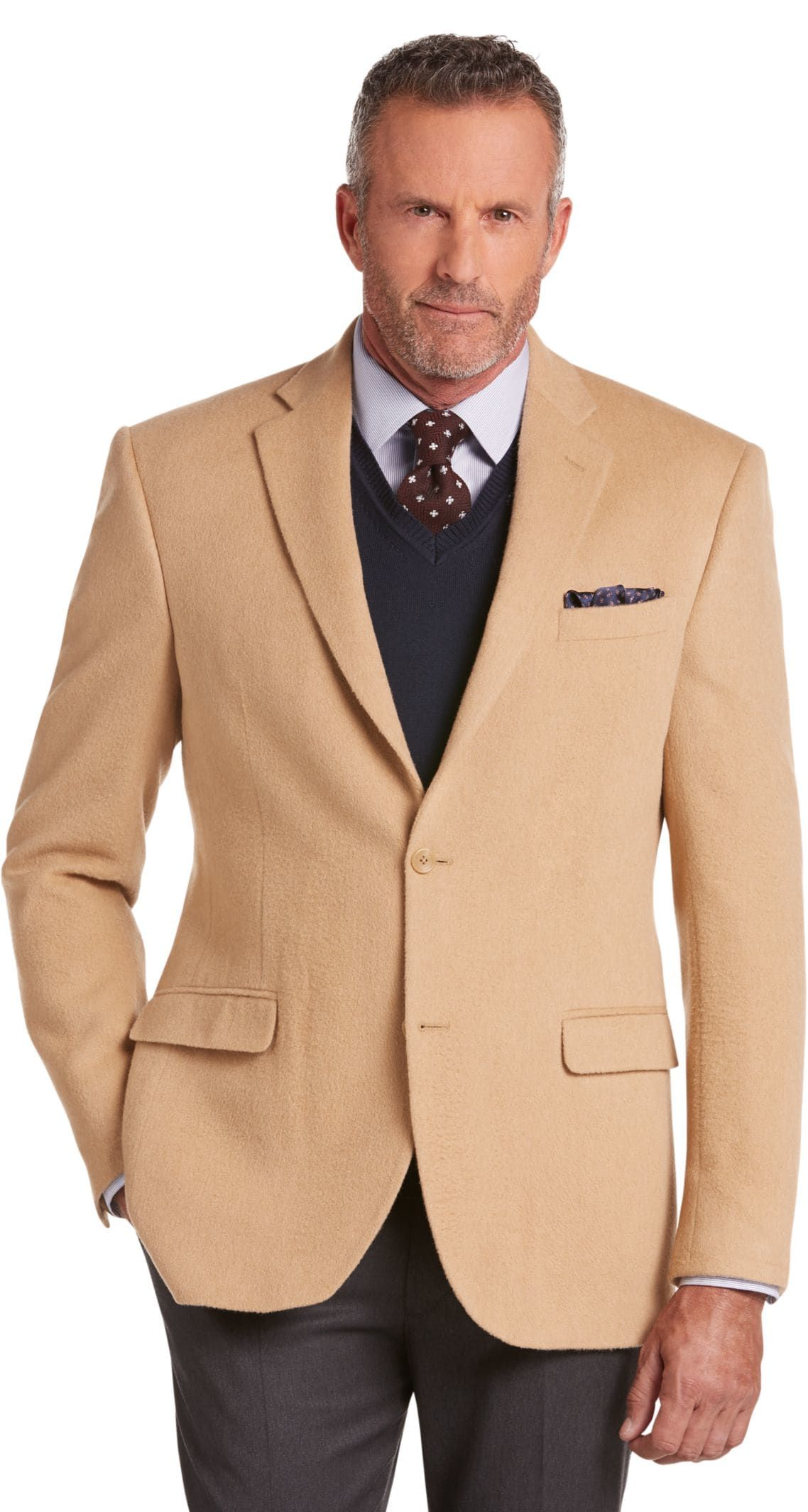 Executive Collection Traditional Fit Camelhair Blazer