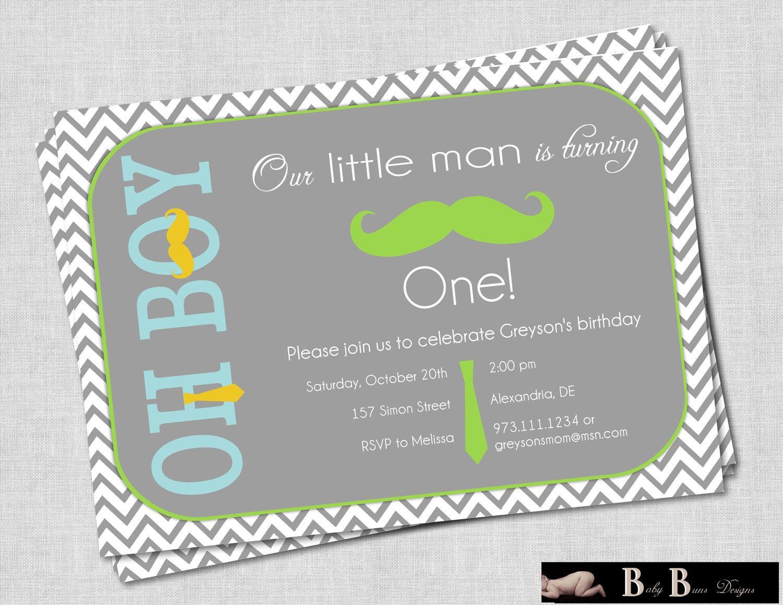 Little Man Moustache & Tie Boy Birthday Party Invitation (gray ...