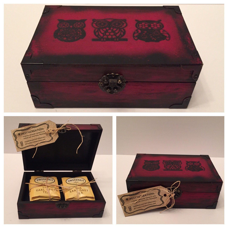 Three Wise Owls   Wooden Tea U0026 Keepsake Decor And Storage Box