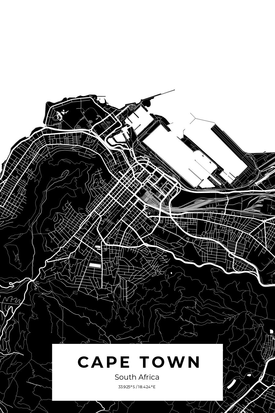 Custom city map poster of Cape Town, South Africa in black and
