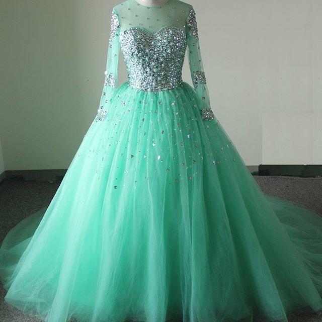 Sheer Full Sleeve Turquoise Ball Gown Wedding Dresses 2017 ...
