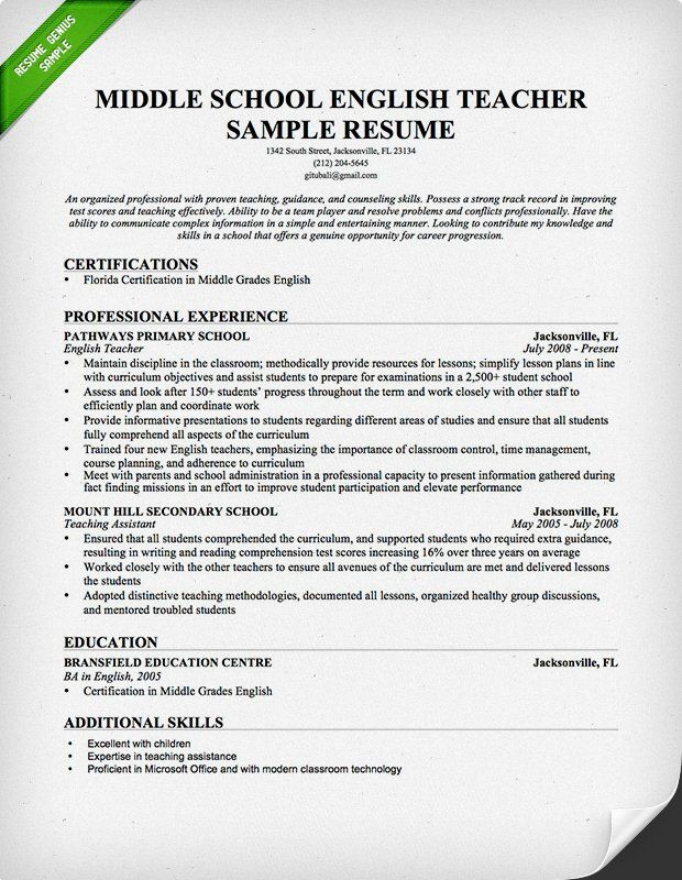 English Teacher Resume Sample   JrHigh School