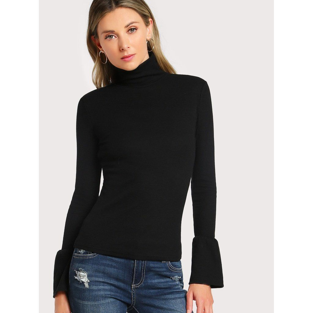 Bell Cuff Rib Knit Fitted Tee BLACK (With Images)