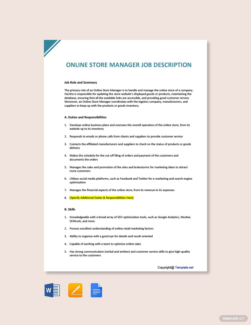 Free Online Store Manager Job Description Template in 2020