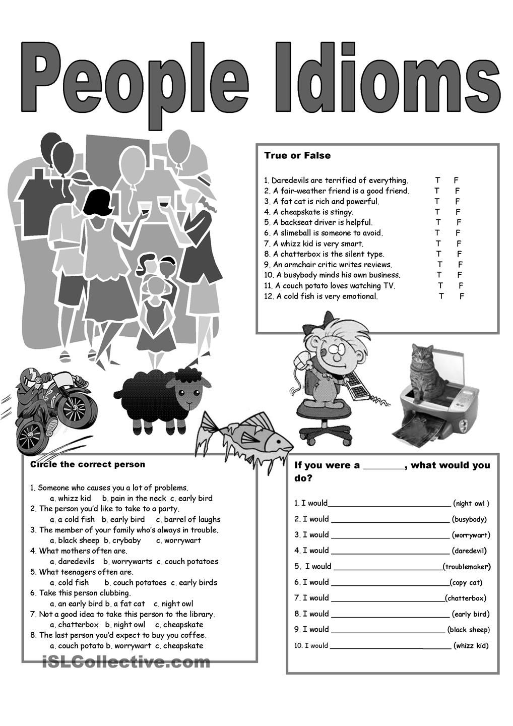 5 Page People Idioms Poster, Pictionary, Exercises | Secondary ELAR ...