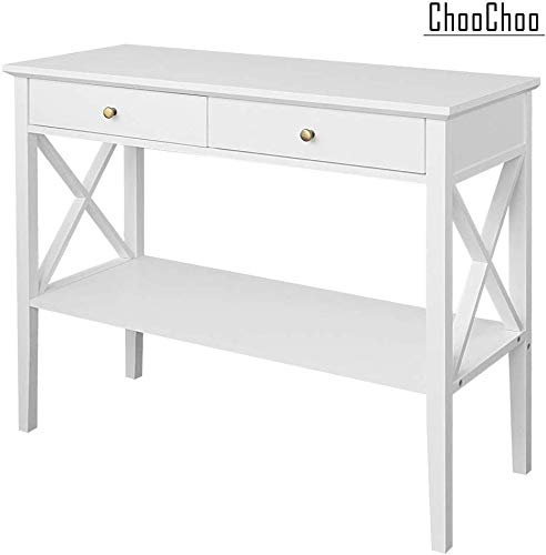 Amazon Com Choochoo Console Sofa Table Classic X Design With 2 Drawers Narrow Console Table For Entryway In 2020 Narrow Console Table Hall Console Table Sofa Table