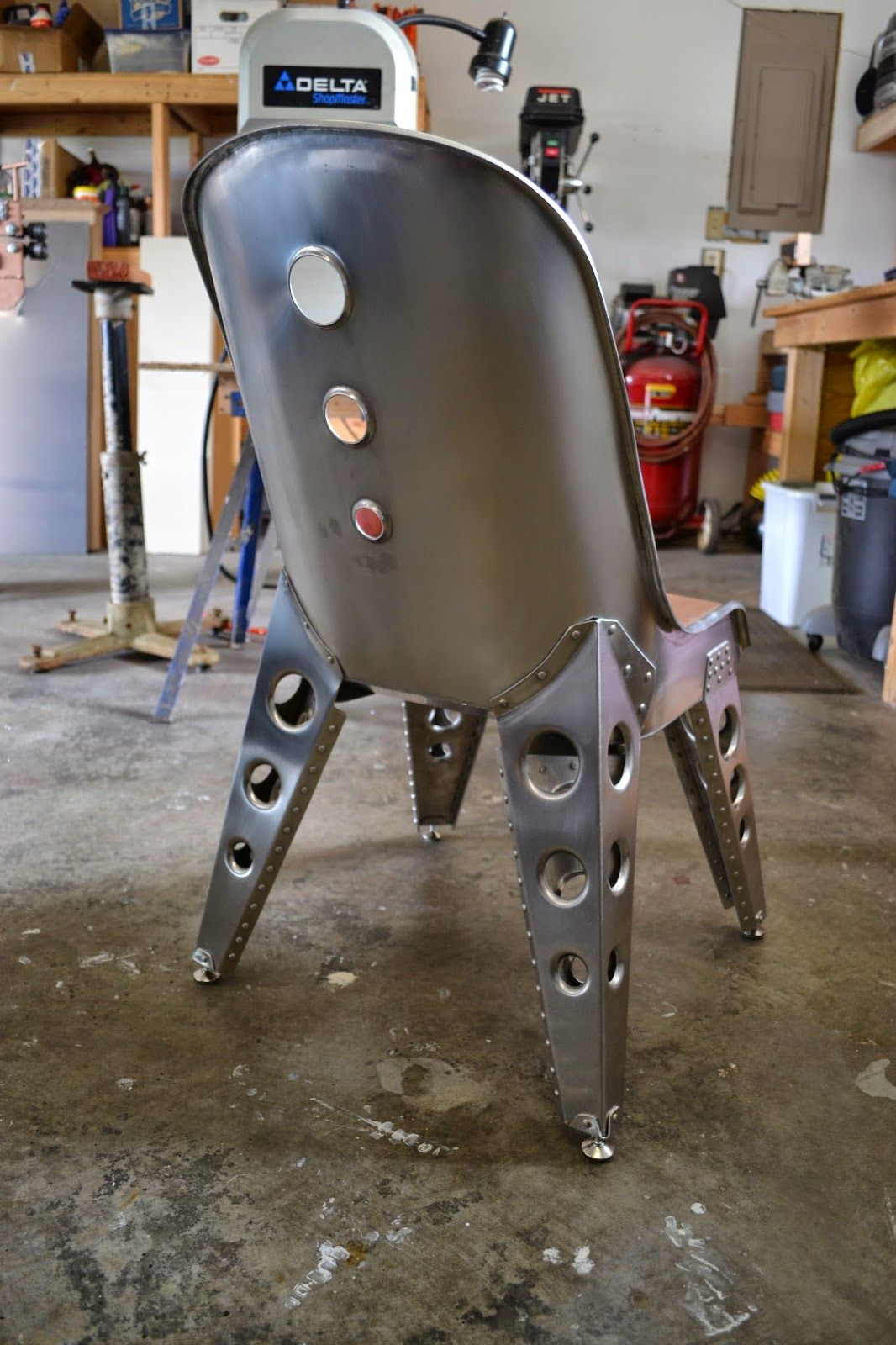 Aviation Inspired Aluminum Riveted Bomber Seat Chair 2