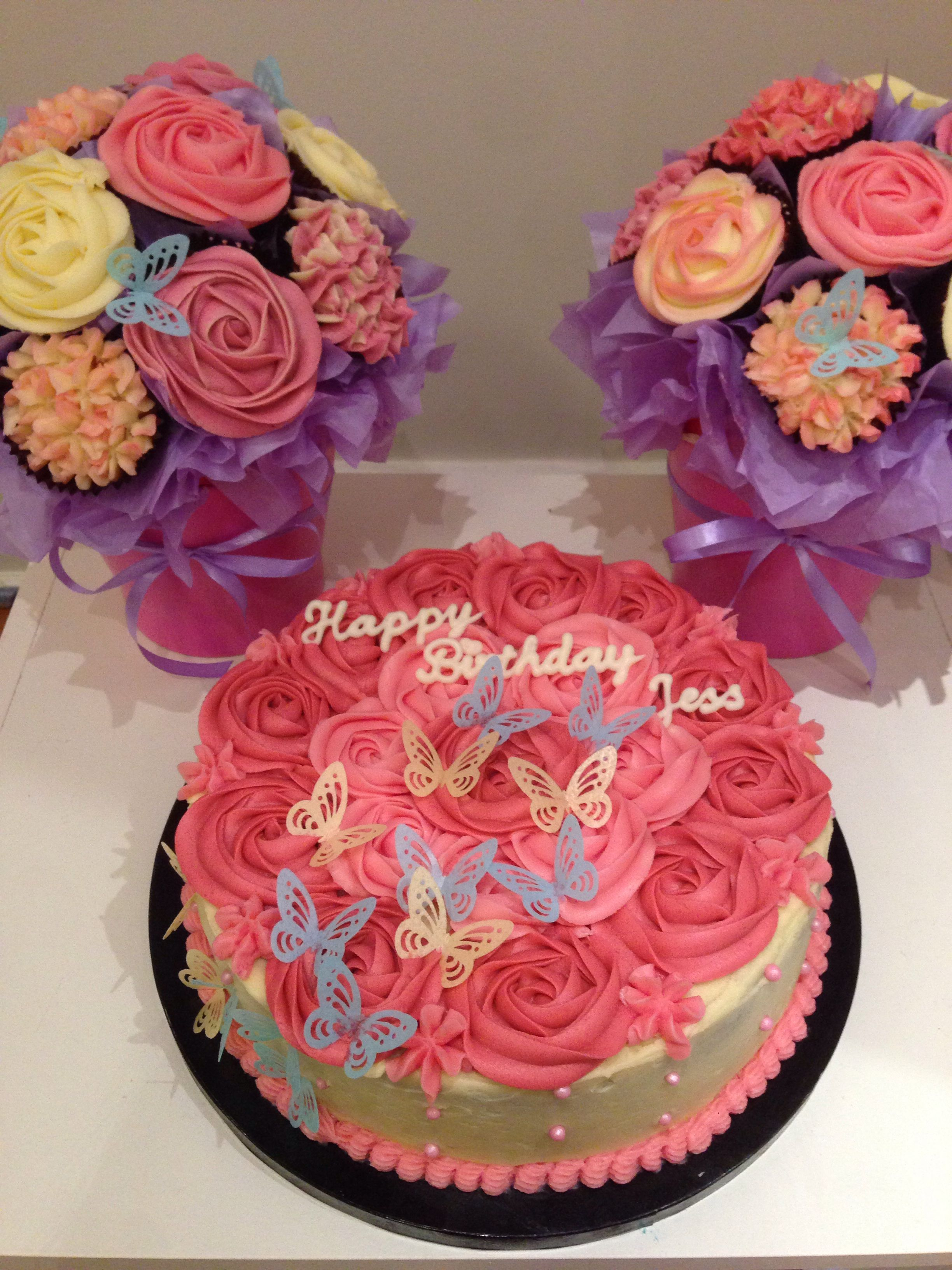 Rose Cake and cupcake flower bouquet - 18th Birthday   cute ideas ...