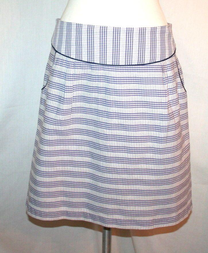 Anthropologie Edme & Esyllte Endearing Blue and White Gingham Skirt