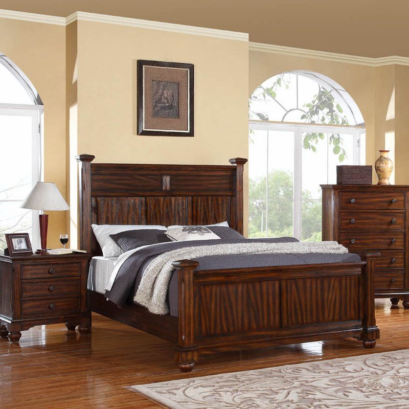 Give your bedroom or guest room a dash of elegance with the Forester bedroom set. Finished in honey oak hues of dark and medium brown, this three-piece bed, chest and nightstand set gives any bedroom an organic presence.