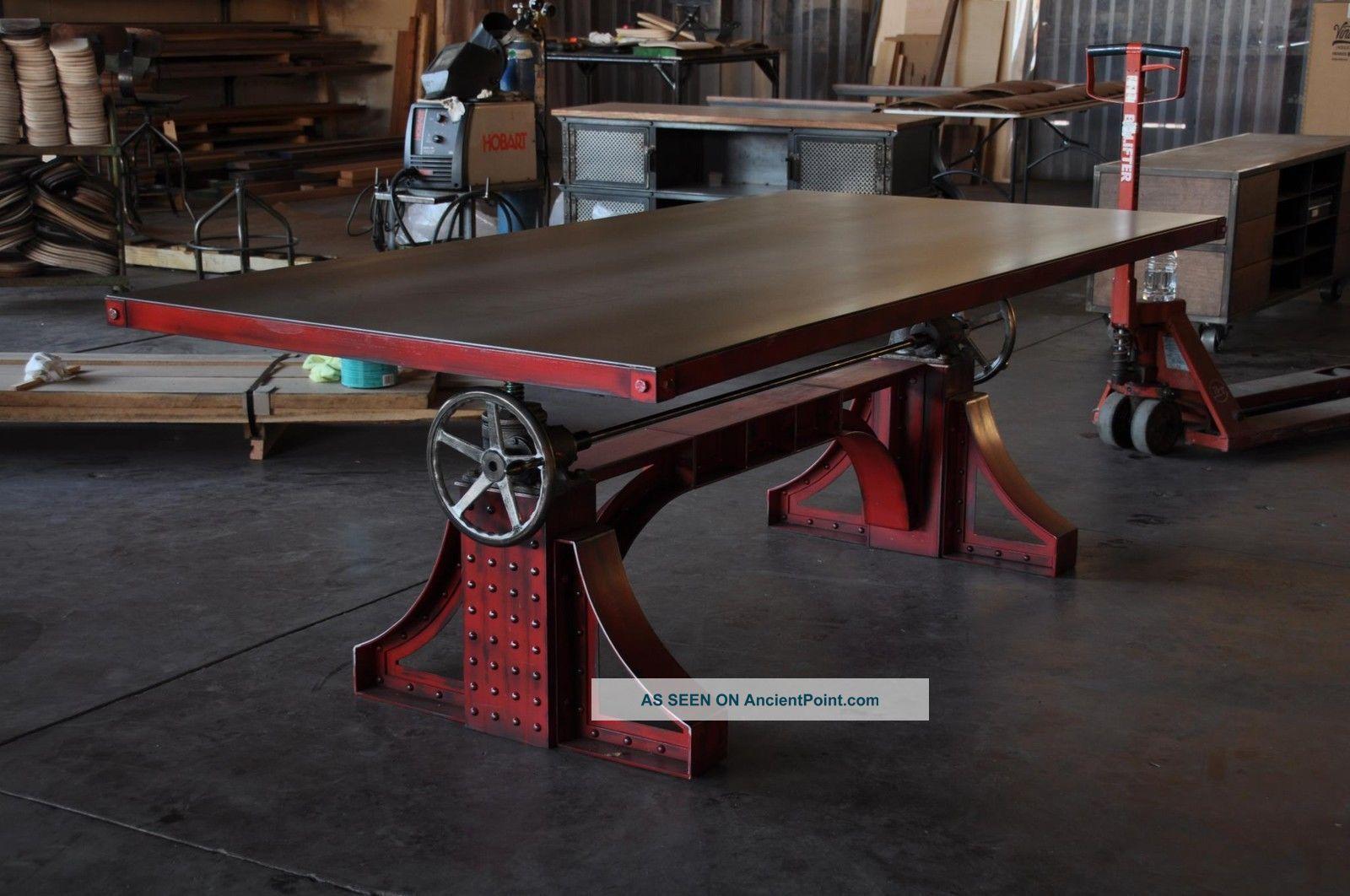 Vintage Industrial Bronx Adjustable Height Table / Desk