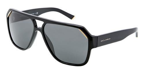 Dolce & Gabbana   Eyewear : modèle 4138 - Collection Lunettes de soleil Hommes. Pilote avec monture noire et verres gris.