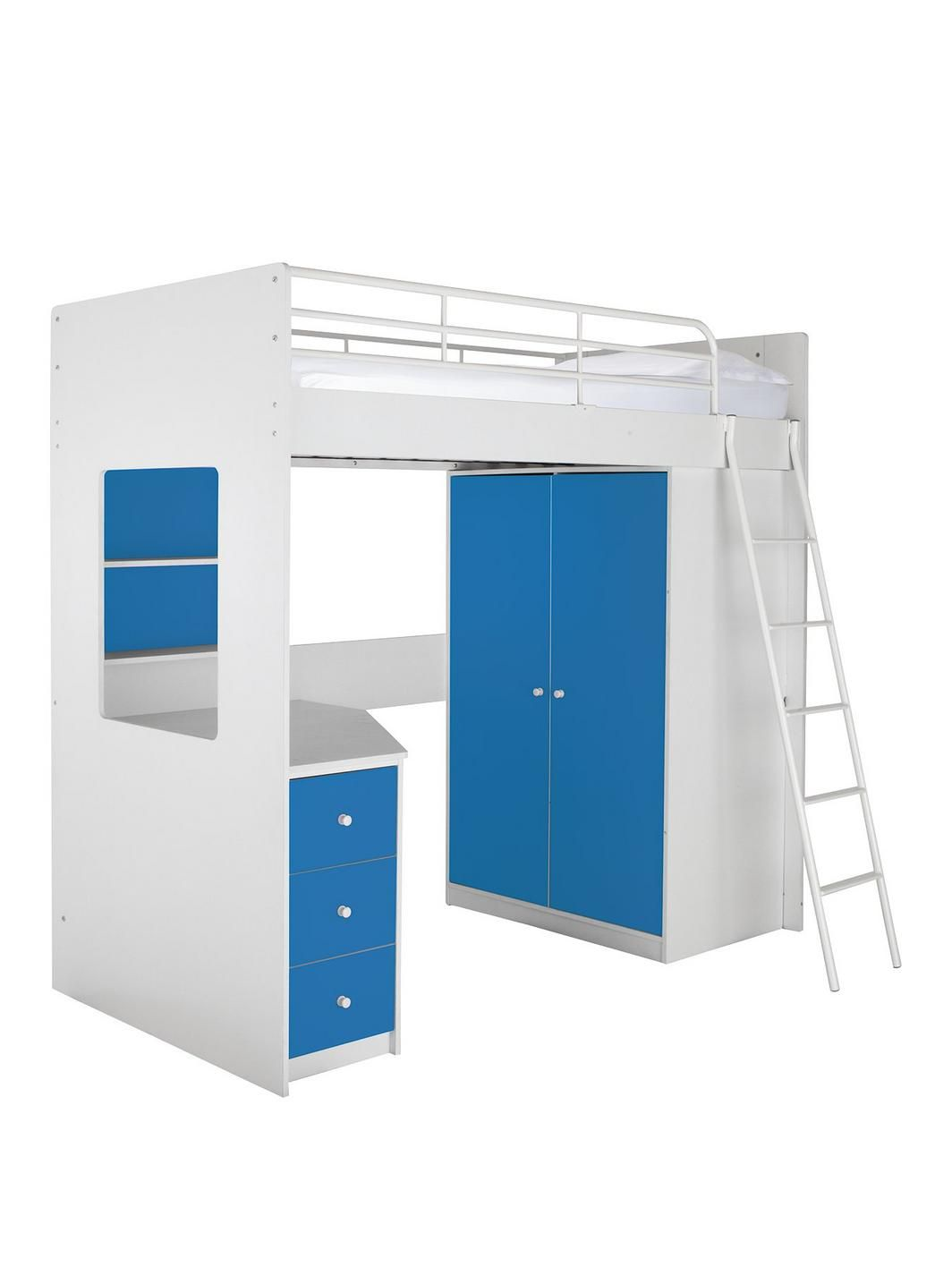 Austin High Sleeper Bed with Desk Wardrobe Drawers Shelves and Optional\u2026