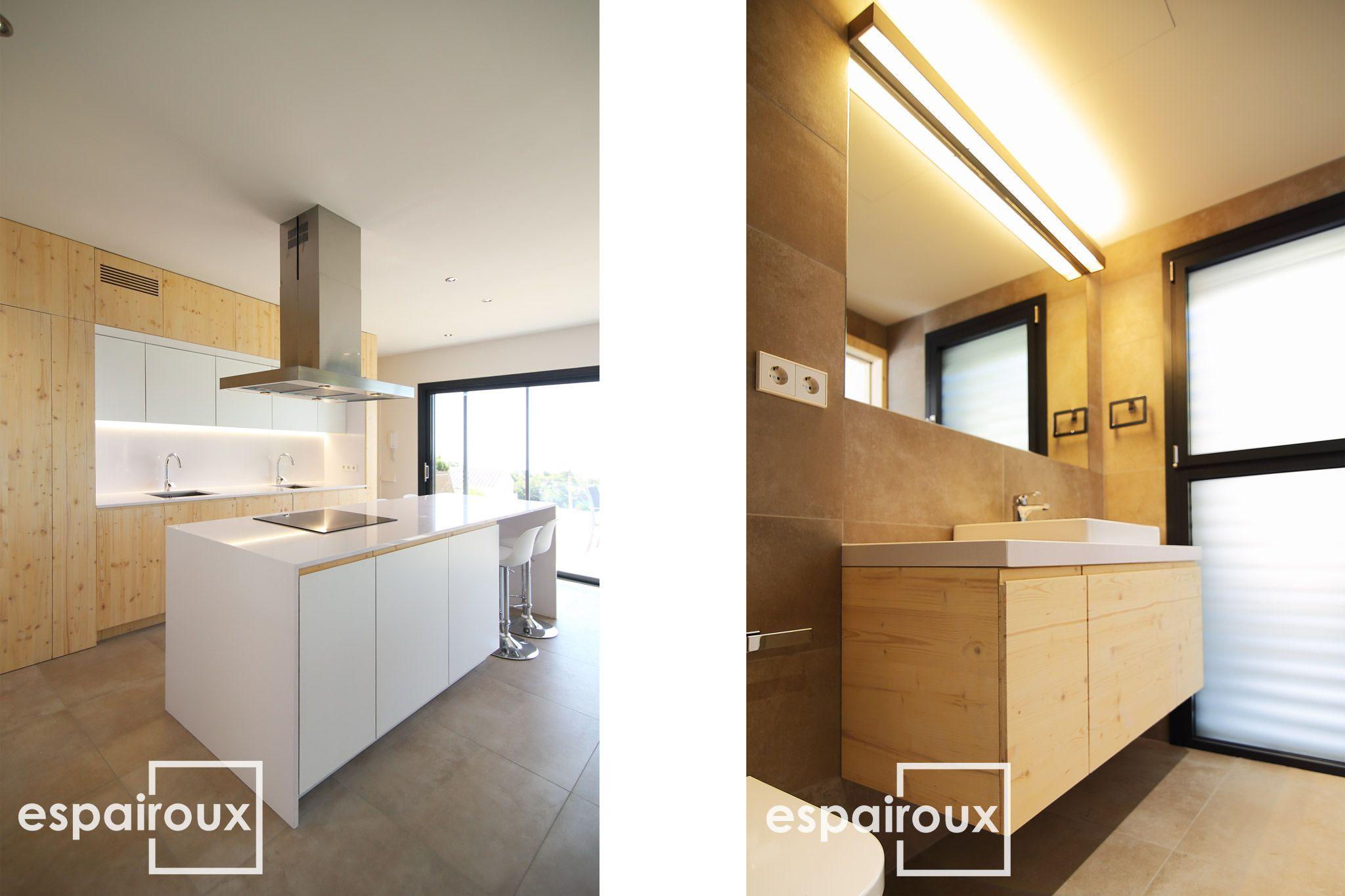 Interior, cocina y baño de una casa saludable, de elevada eficiencia ...